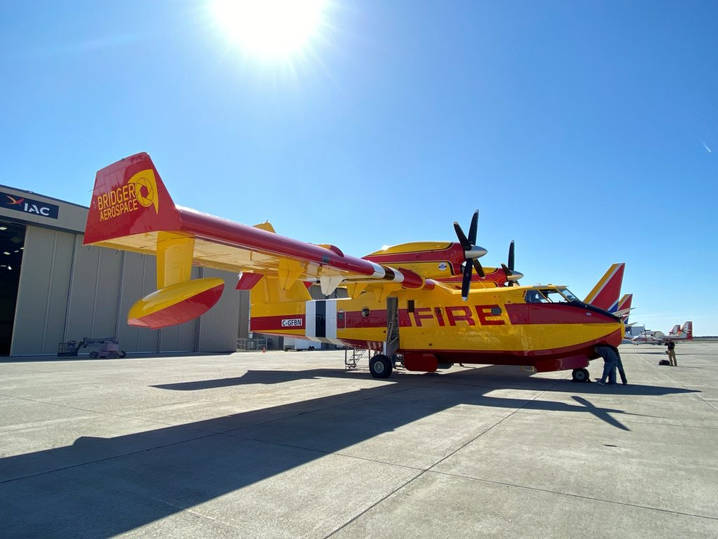Image of Viking Air Limited CL-415EAF aerial firefighting aircraft with Latitude Technologies OLMS and ATIS capabilities
